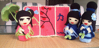 crochet japanese kokeshi dolls