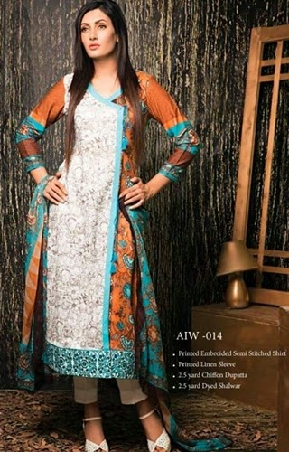 Amna Ismail Semi Stitched Winter 14/15