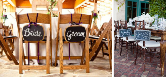 Wedding chairs chalkboards