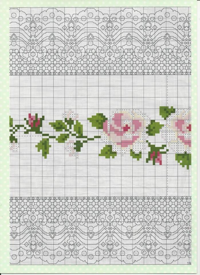 PATRONES PUNTO DE CRUZ GRATIS: Gráfico camino de mesa con flores a ...