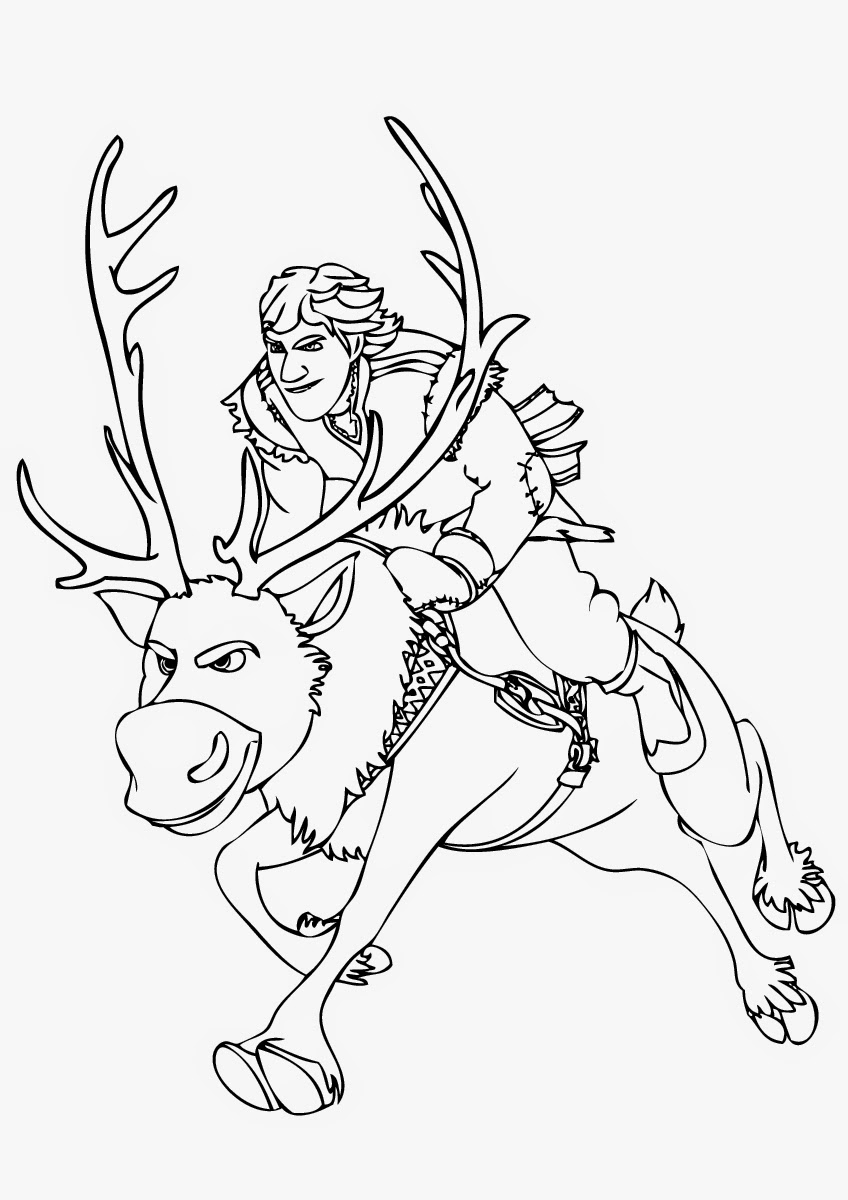 frozen coloring pages sven kristoff - photo#13