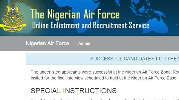 The Name Of Successful Applicants For Nigerian Air Force Zonal Recruitment Exercise Conducted Nationwide Between 15th