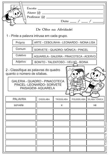 Atividade  Lingua Portuguesa 3º e 4º Ano
