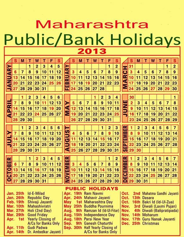 Maharashtra Bank Holidays 2013 Calender