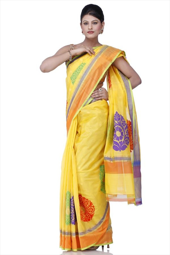 Cyber Yellow Kattan Silk Banarasi Saree