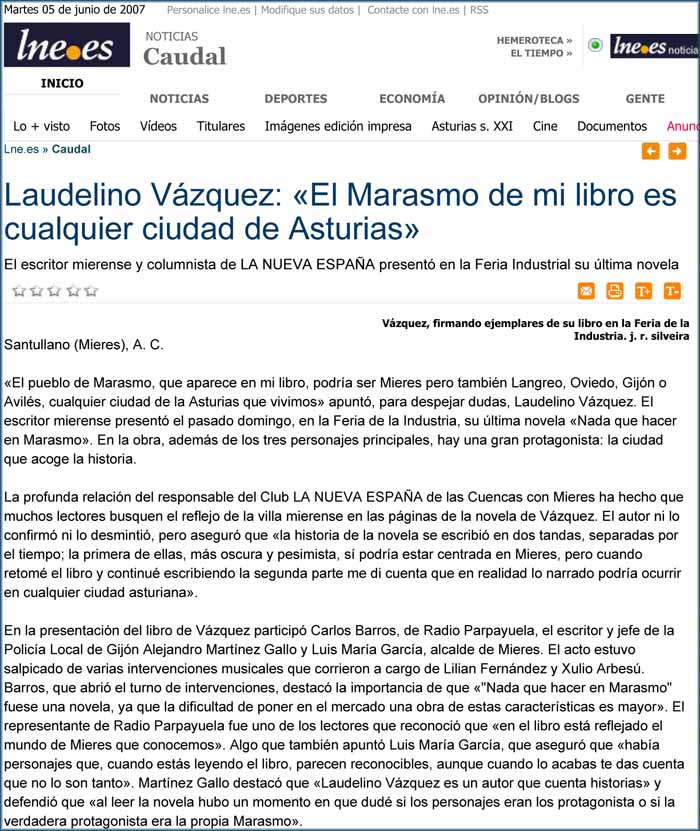 Laudelino Vázquez, Nada que hacer en Marasmo