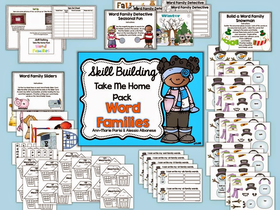 http://www.teacherspayteachers.com/Product/Skill-Building-Take-Me-Home-Pack-Word-Families-1623327