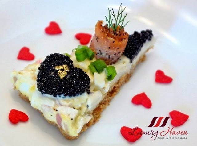 valentines day heart shaped salmon caviar tart recipe