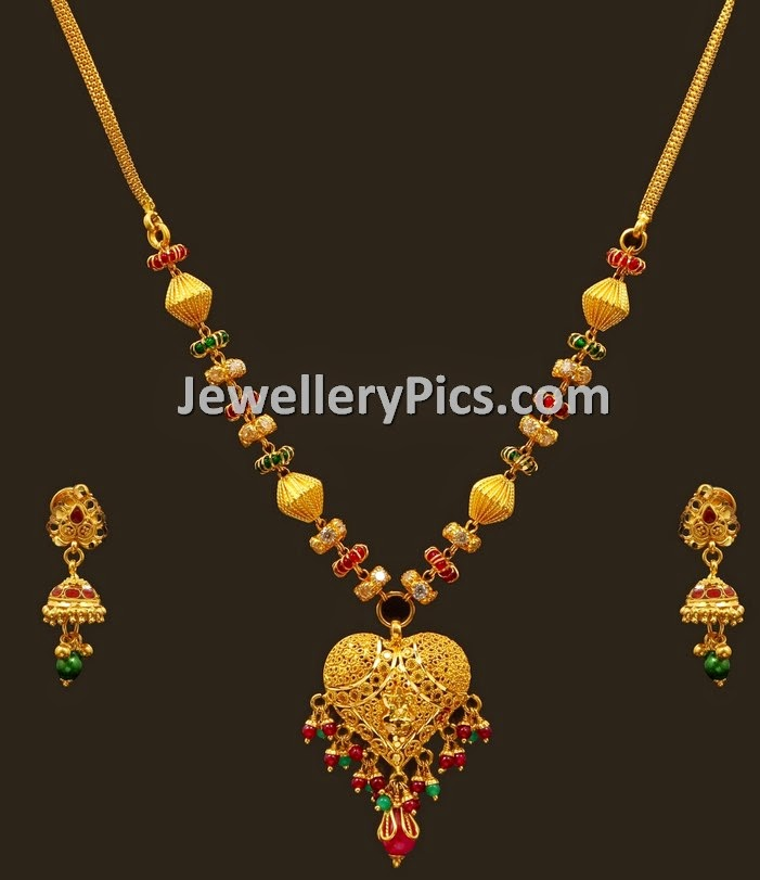 Gold fancy baby necklace set - Latest Jewellery Designs