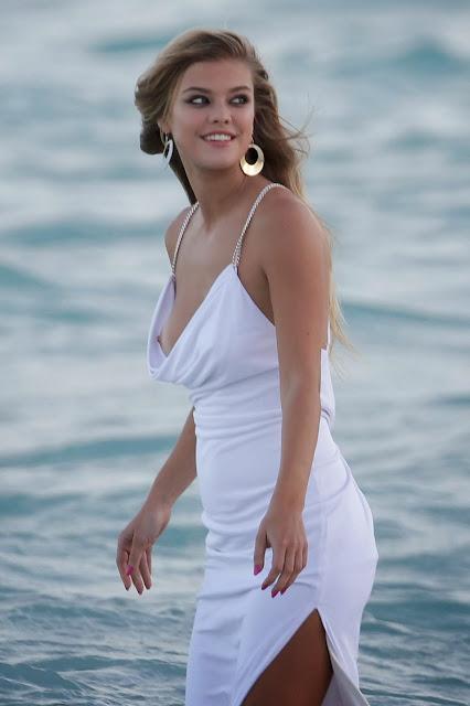 """Nina Agdal Nipple Slipping Candids At """"Bebe"""" Photoshoot In Miami"""