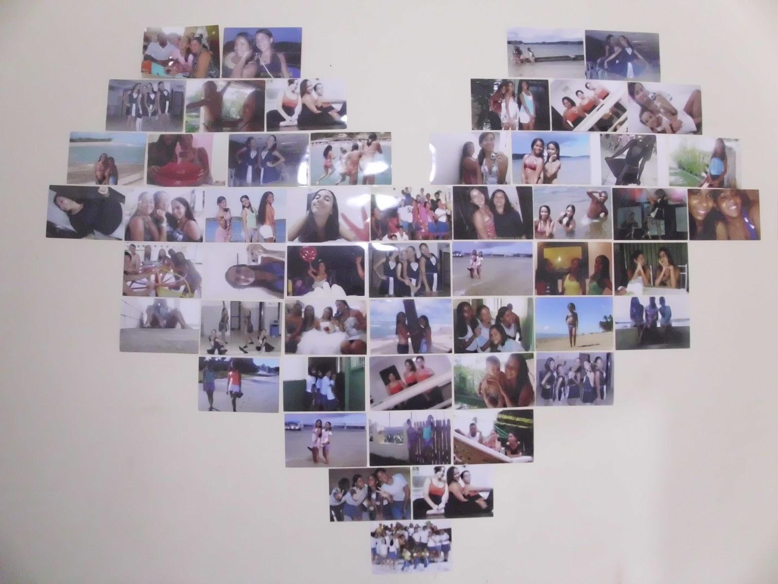 mural de fotos decoracao : lindo e criativo mural de fotos em forma de cora??o ele tem 52 fotos ...