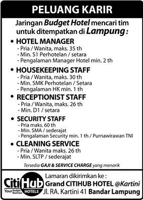 Lowongan Kerja Grand CitiHub Hotel Lampung