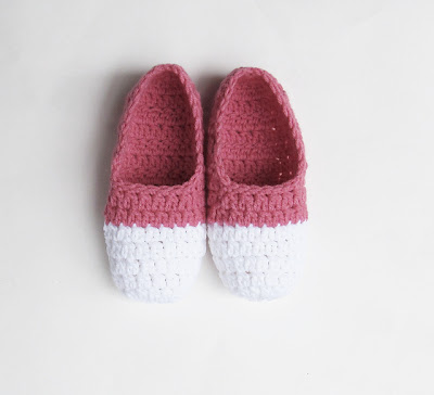 free crochet pattern two tone slippers