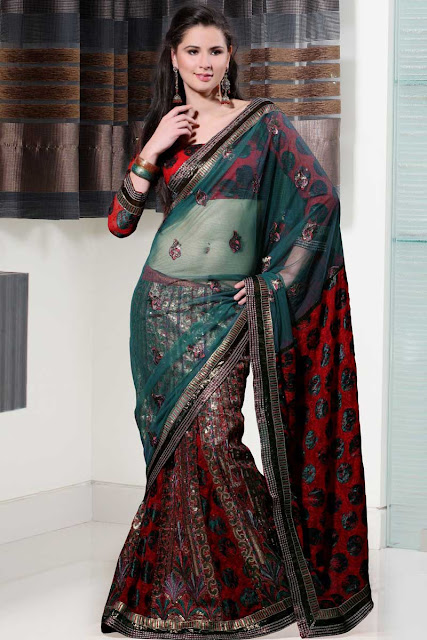 Embroidered-Lehenga-Style-Saree