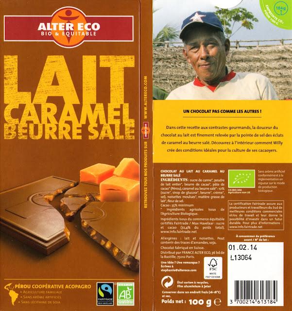 tablette de chocolat lait gourmand alter eco pérou lait caramel beurre salé