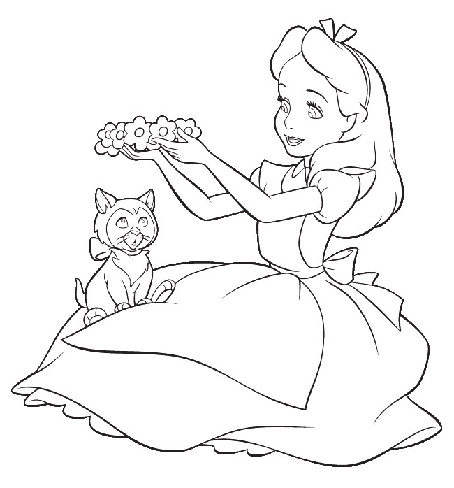 Cartoon Design Alice In Wonderland Coloring Pages From Disney