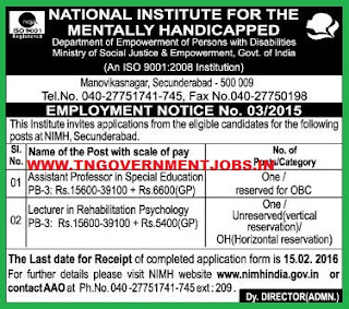 Applications are invited for Teaching  Posts in NIMH Secunderabad