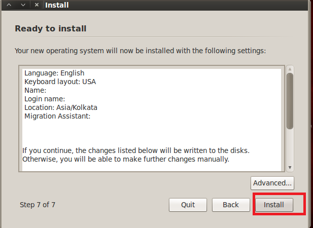 Finish Backtrack Installation by clicking Install