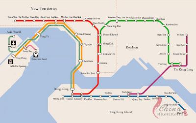 Hong Kong subway map, MTR