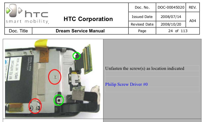 error in htc dream google g1 disassembly manual aditya gilra rh adityagilra blogspot com HTC Hero HTC Magic
