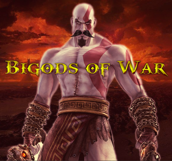 bigods of war, mustache, kratos