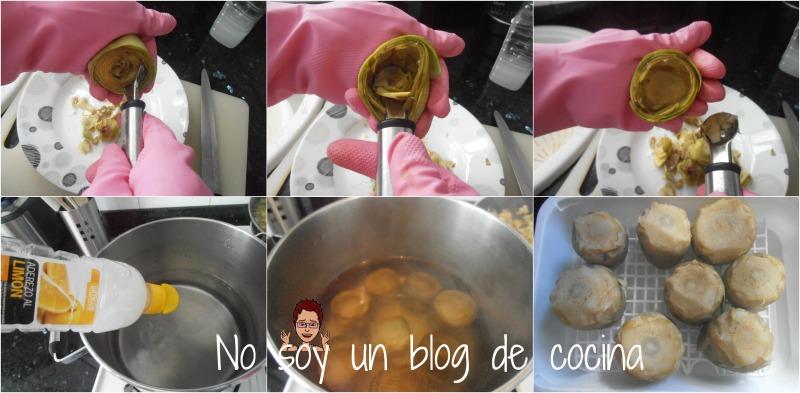 Alcachofas rellenas de tortilla de patatas