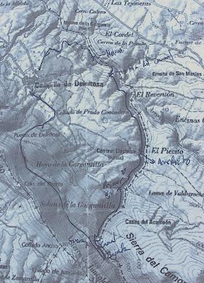 Mapa de la ruta del acueducto de las Herrerías