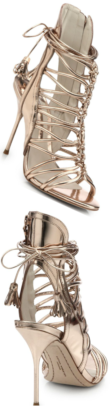 Sophia Webster Lacey Strappy Metallic Sandal rose gold