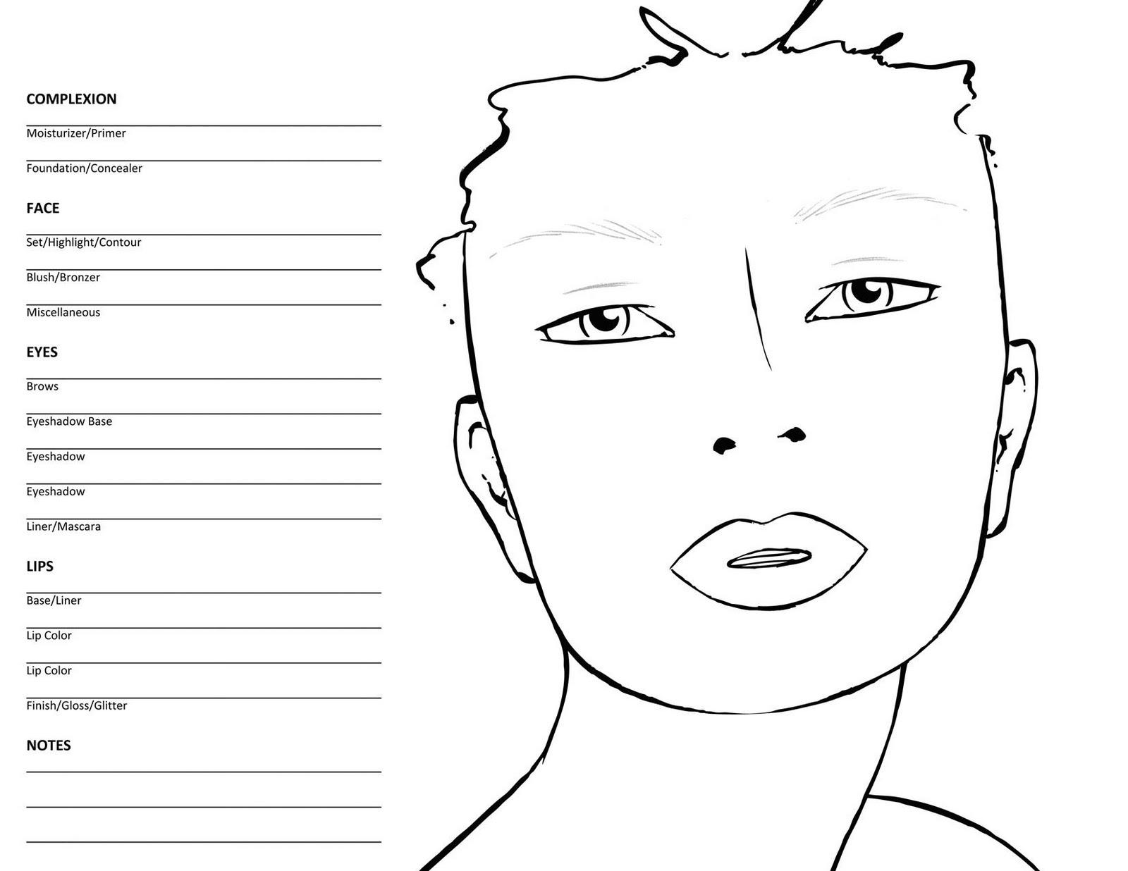 Blank Makeup Face Chart Template