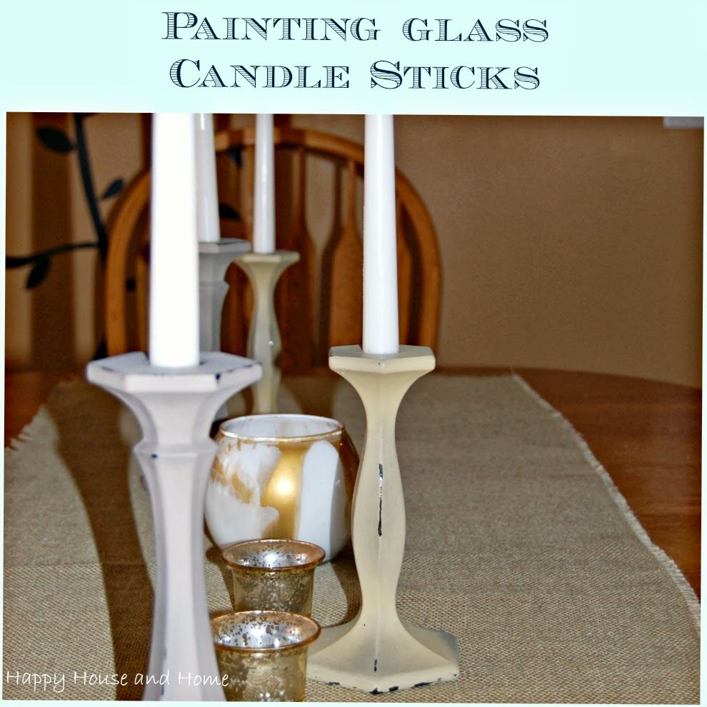 painting glass, painting candlesticks, chippy candlesticks, distressed candlesticks