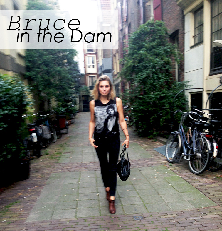 Bruce Springsteen sleeveless tee, rock n' roll vibes, Amsterdam, Bottega Veneta intrecciato leather cross body bag, Rag & Bone Harrow boots