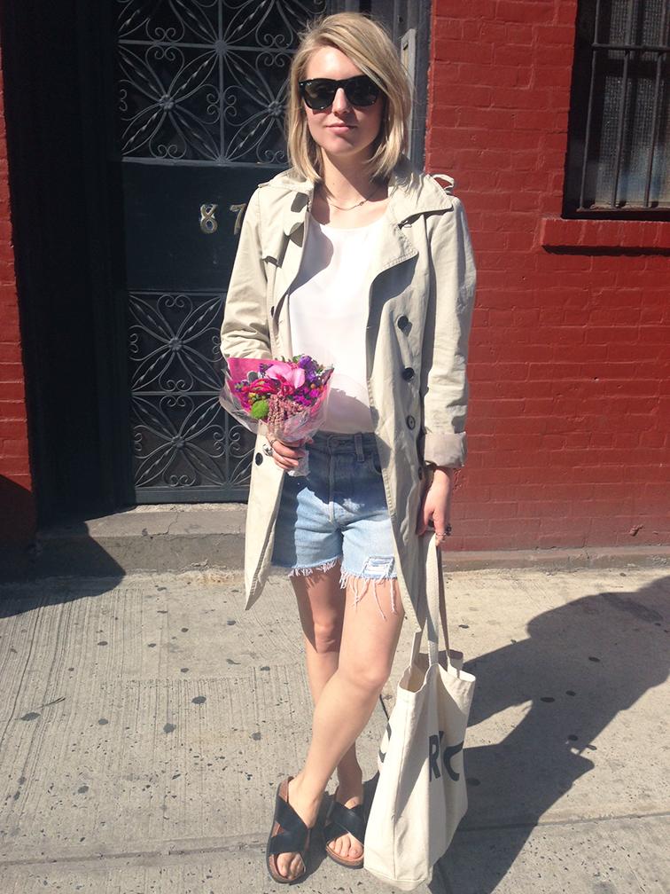Neutrals, basics, fresh spring outfit, sunshine, May Flowers, Zara trench coat, distressed denim shorts, black flat slides, sandals