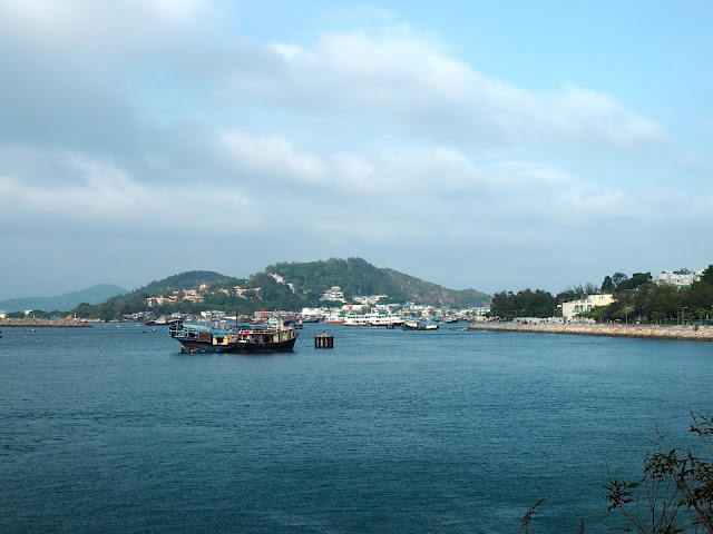 View of Cheung Chau Island's village and boats in the harbour, Hong Kong