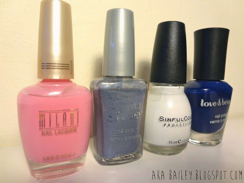 Milani - Tip Toe Pink, Sinful Colors - Snow Me White, Wet 'n Wild - Rain Check, and Love & Beauty - Navy, nail polish