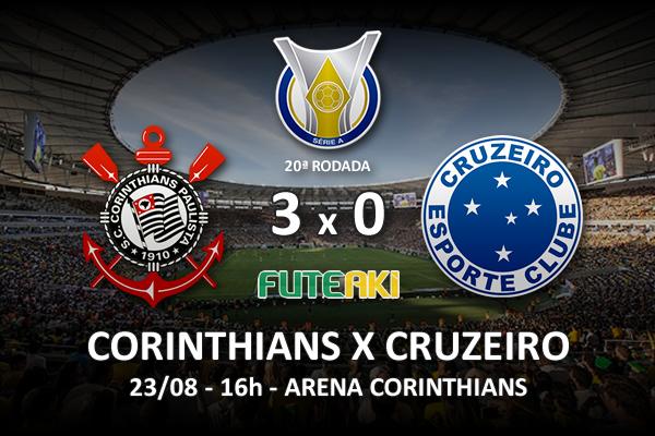 Veja o resumo da partida com os gols e os melhores momentos de Corinthians 3x0 Cruzeiro pela 20ª rodada do Brasileirão 2015