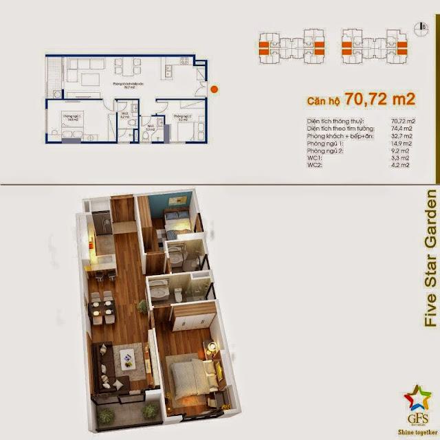 Diện tích căn hộ 70,72m2