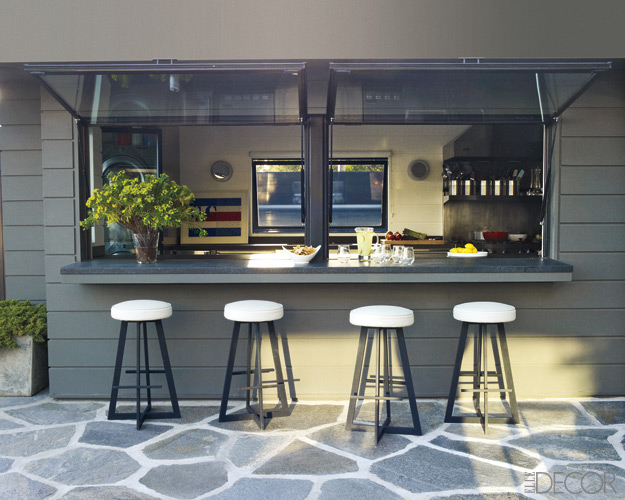 Beautiful abodes home of courteney cox for Bar area in kitchen