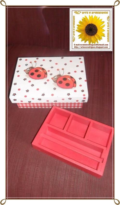 rc art 39 s e artesanatos mdf caixa joaninhas. Black Bedroom Furniture Sets. Home Design Ideas