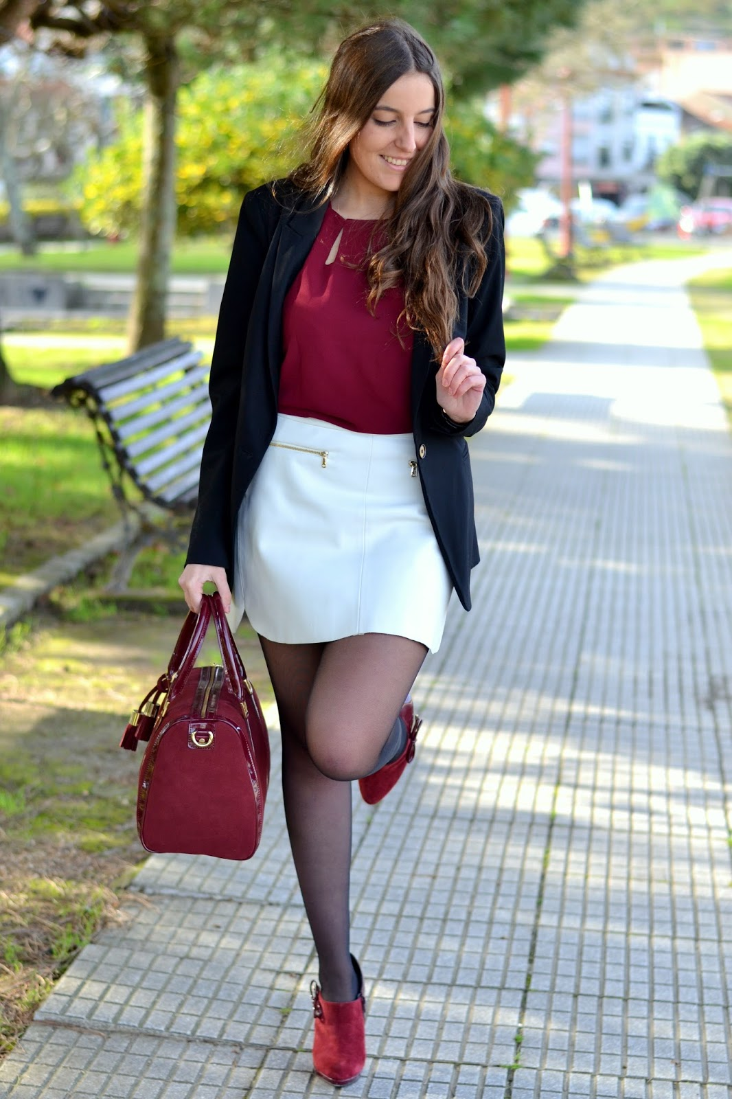 sheinside top burgundy