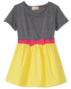 MyHabit: Save Up to 60% off Upper School Girls: 2-fer Dress: Soft knit bodice with contrast woven skirt, elasticized waist with bow accent, rounded neckline