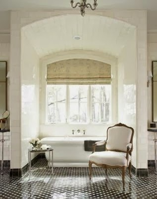 beautiful room - traditional style white master bathroom black tile floor