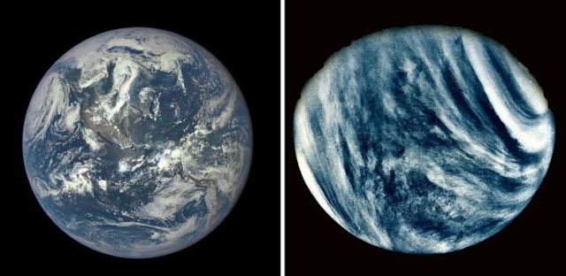 Images of Earth and Venus. Photo: NASA