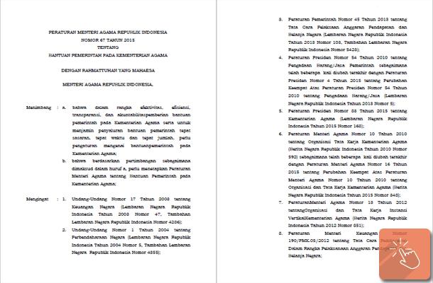 Peraturan Menteri Agama Nomor 67 Tahun 2015 Tentang Bantuan Pemerintah pada Kementerian Agama