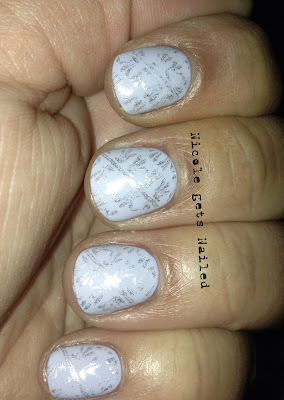 Light Blue with Silver Stamping Nails