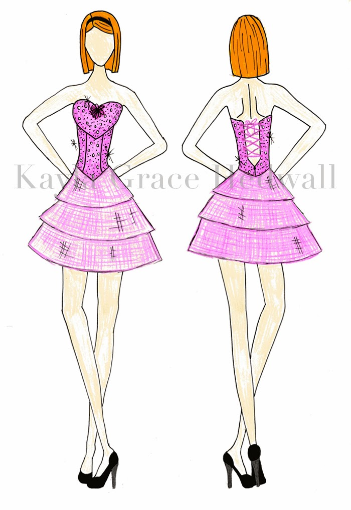 Betsey Johnson Inspired PInk Party Dress illustration by Kayla Hedwall