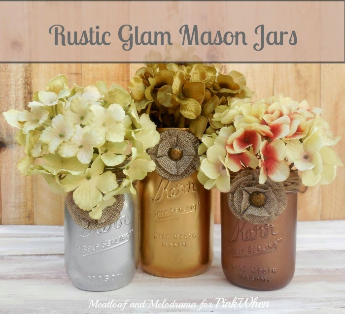 Metallic Spray Painted Mason Jars