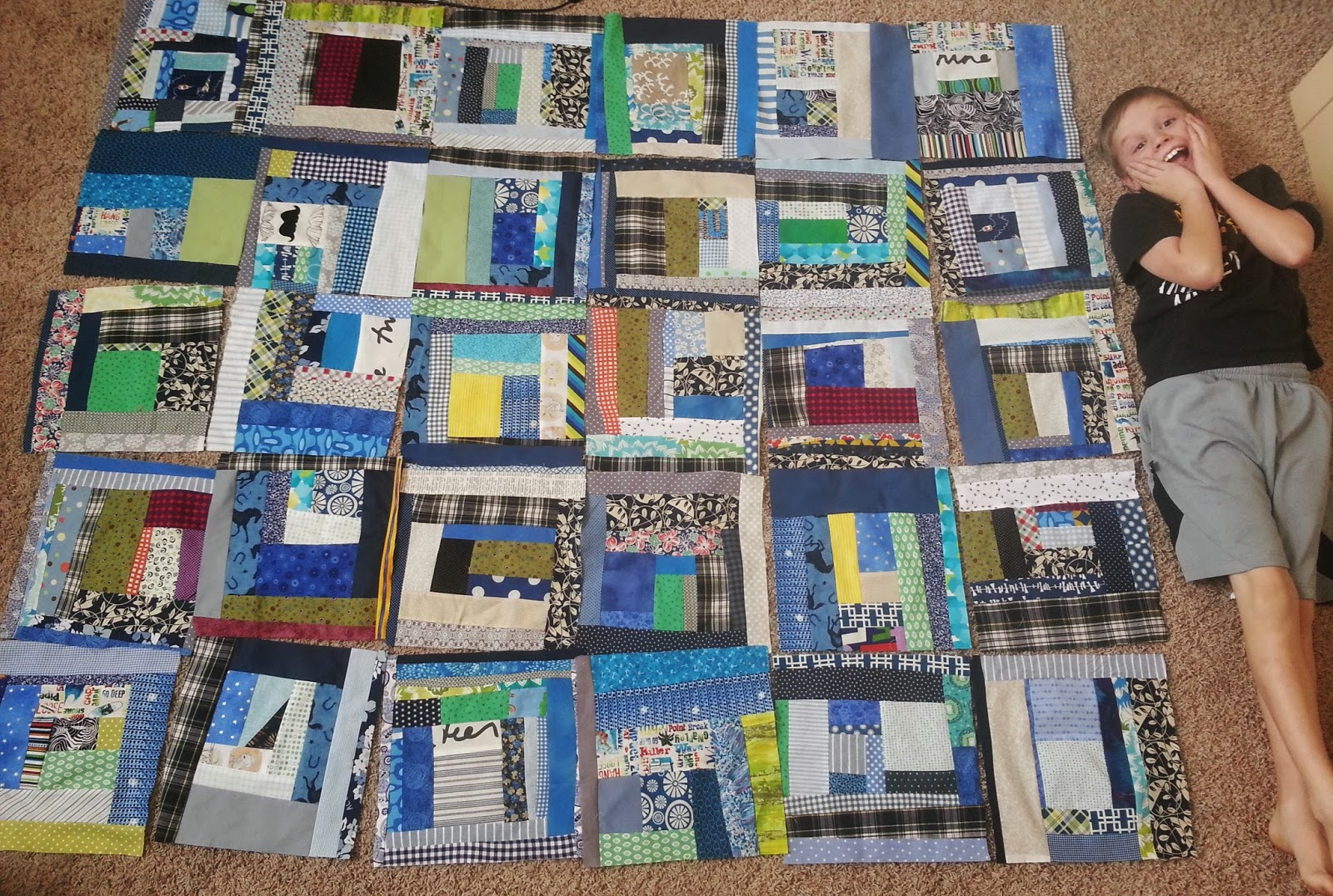 Boy Improv Wonky Quilt Blocks