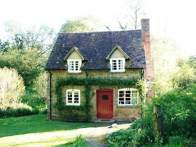 cabin stone, red front door, country stone house, cottage dormer windows