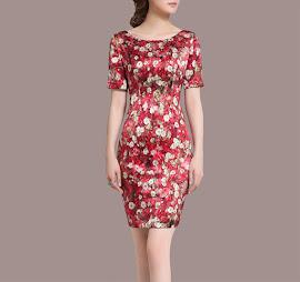 Clearance Sales: Simple Elegant Canvas Printing Pure Silk Dress