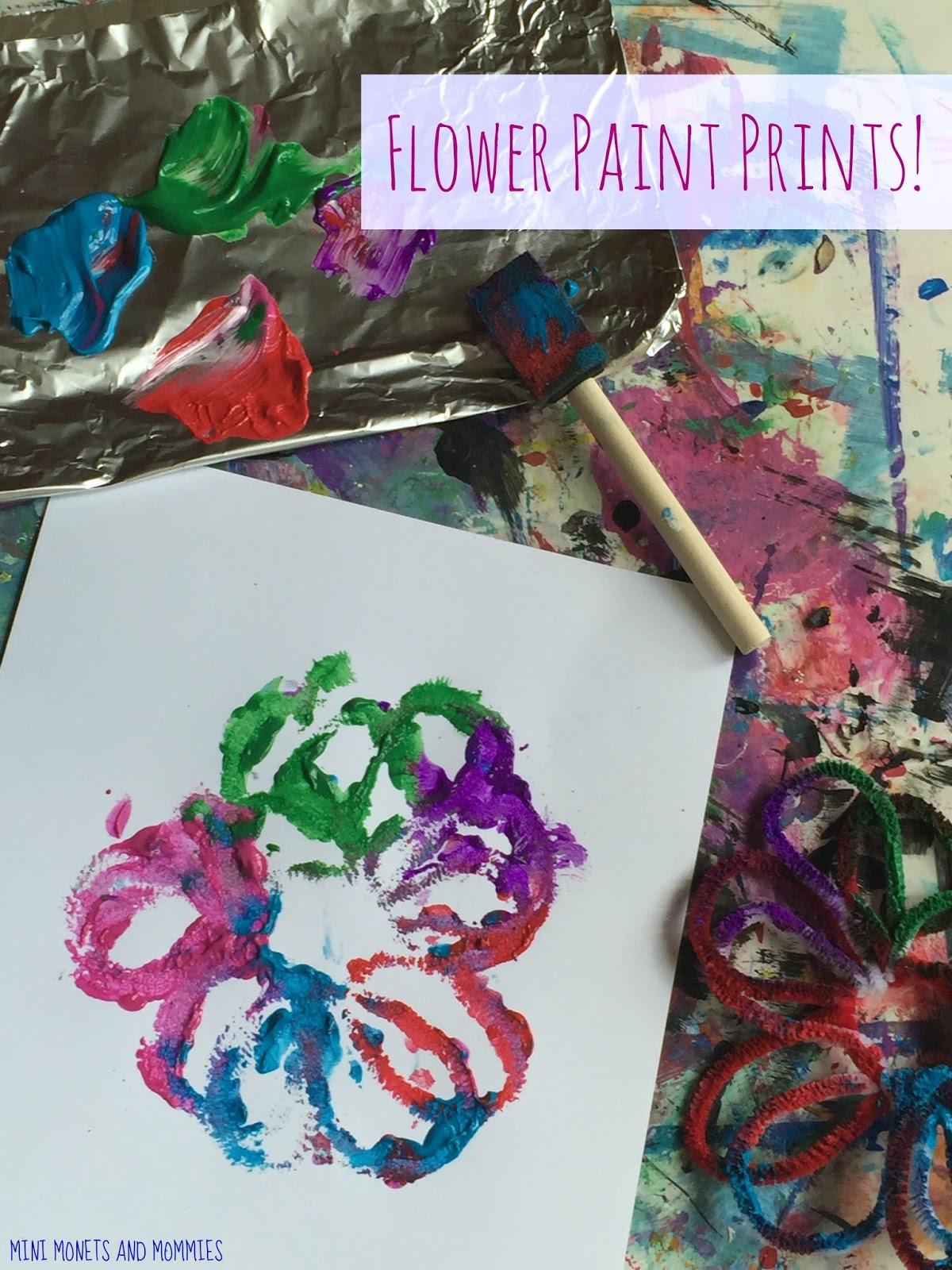 mini monets and mommies pipe cleaner paint prints kids u0027 flower art